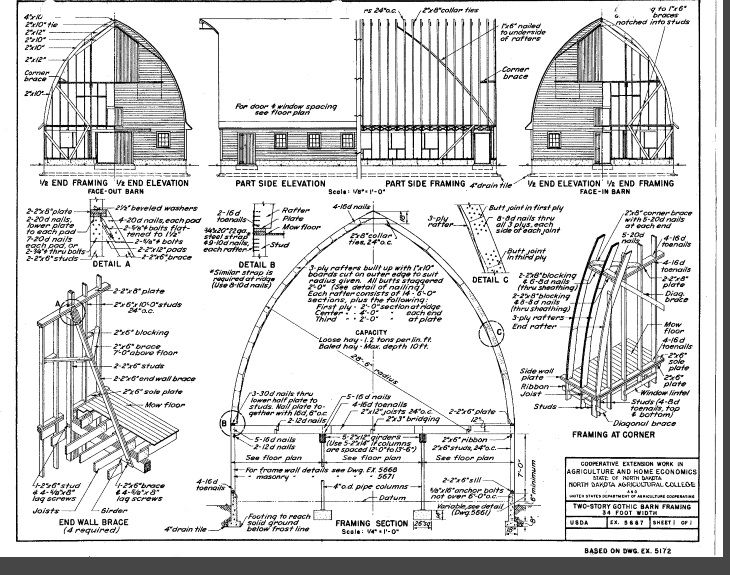how to build a round roof barn