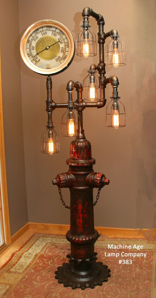 industrial 1923 antique st paul fire hydrant floor lamp with steam