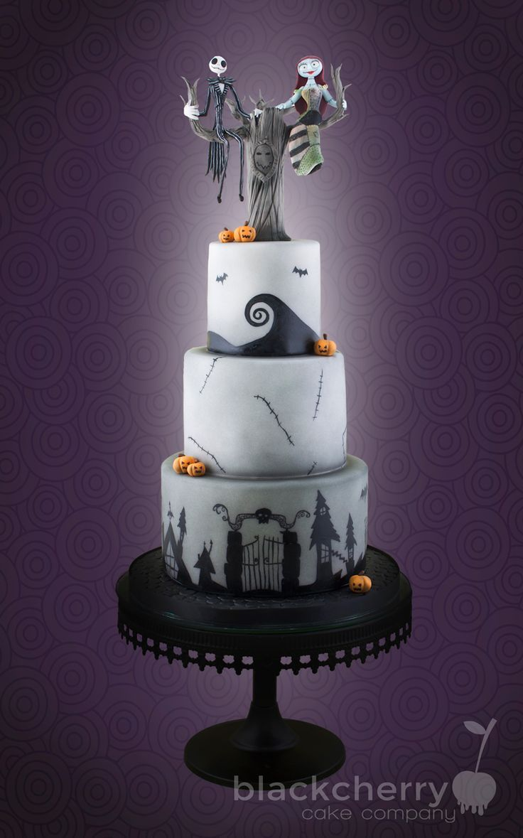Nightmare Before Christmas Wedding Cake Jack and Sally sitting in a ...