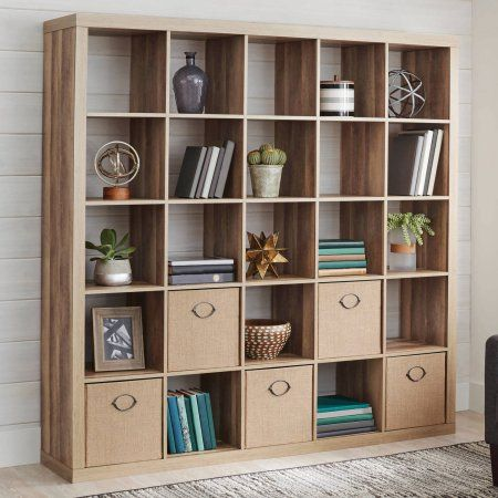Buy Better Homes And Gardens 25 Cube Organizer Room Divider Weathered At Walmart