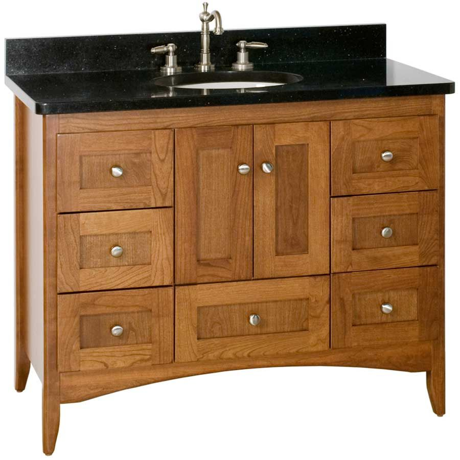 "Furniture Style Vanity With Shaker Door Panels (will Order In White 24"") 42 Wide Shaker Cinnamon"