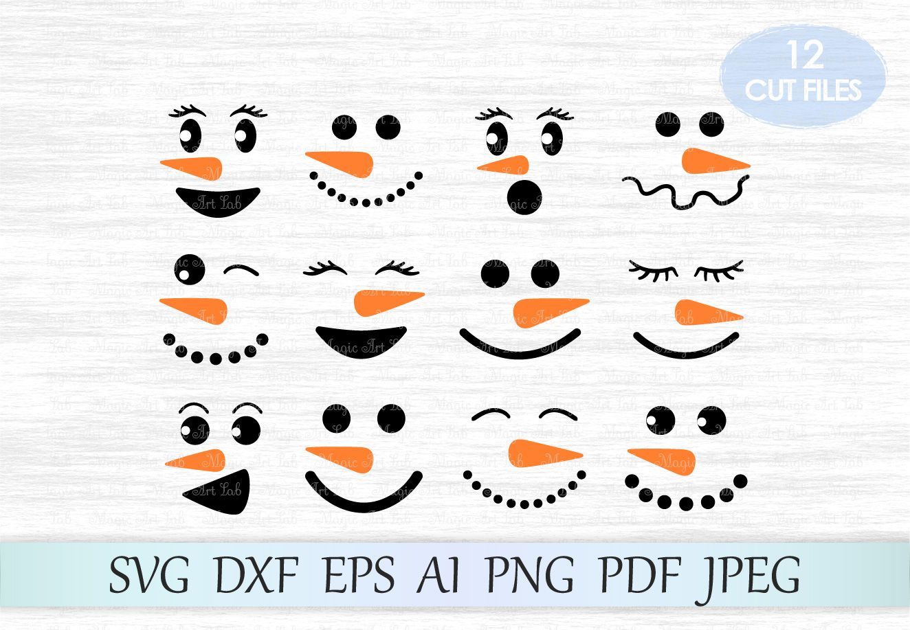 Snowman faces SVG, Snowman SVG, Christmas SVG, Clipart