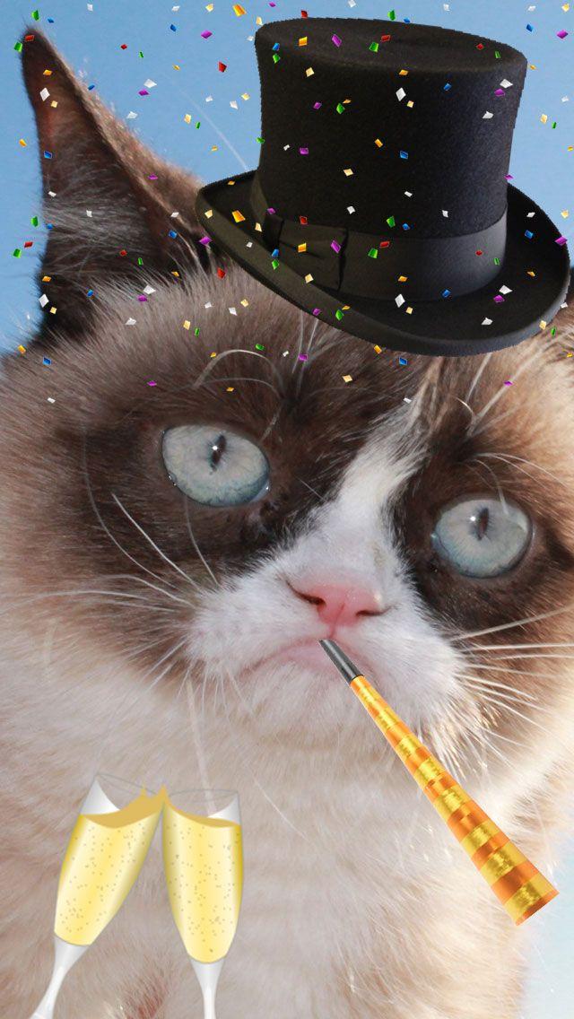 I made a NYE wallpaper for my phone. Grumpy cat, Grumpy