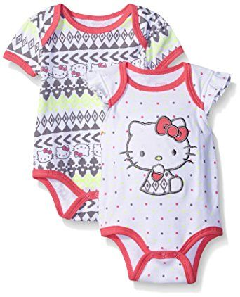 Hello Kitty Baby 2 Pack Bodysuit Allover Aztec Print, Grey, 3-6 Months  http://amzn.to/2k12Kge