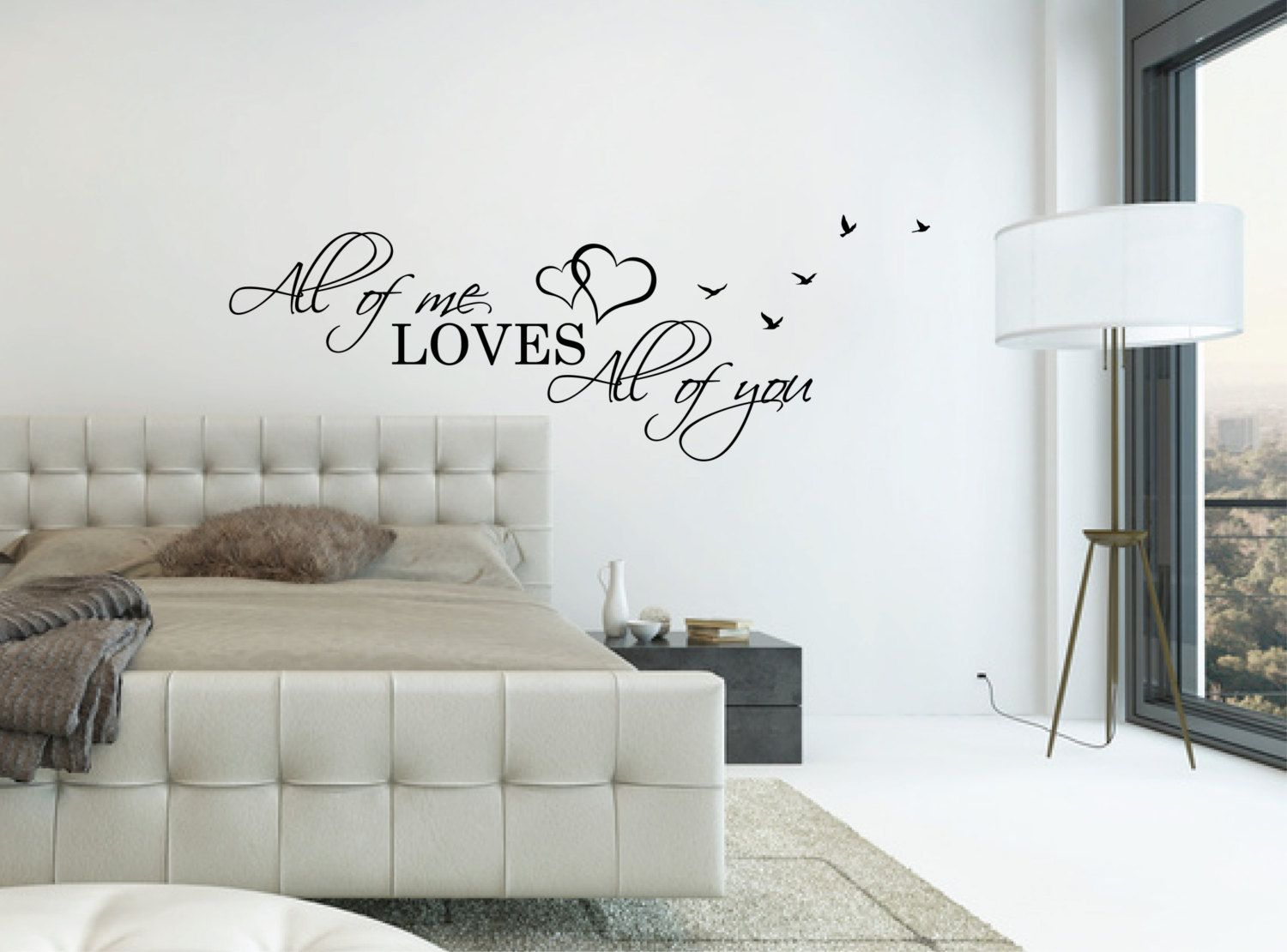 Love Quotes Wall Decals Above Bed Wall Decal Quote  All Of Me Loves All Of You L Over Bed