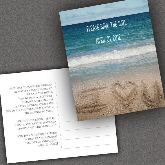 """Beach Save The Date Postcard Has Ocean Shore And """"I (Love"""