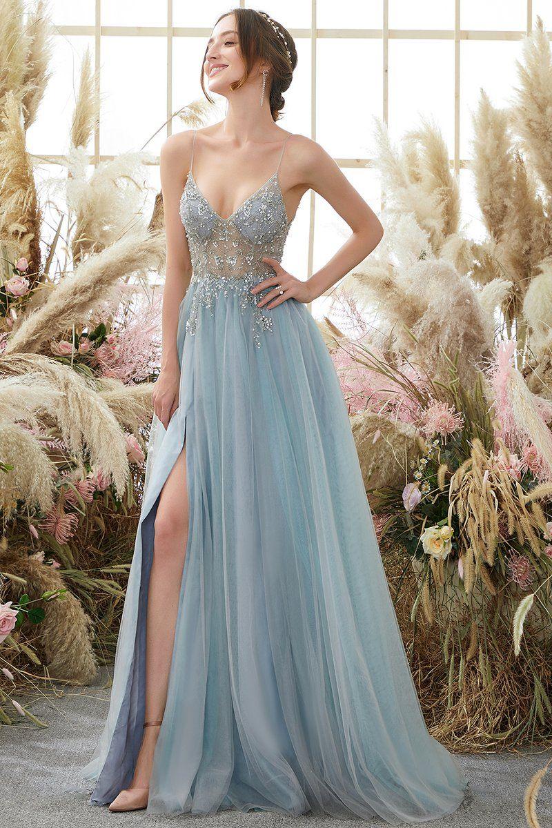 Light Blue Beading Tulle Prom Dress