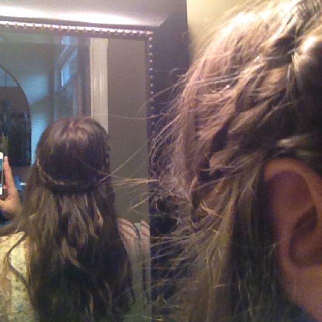 Two braids wrapped around my head