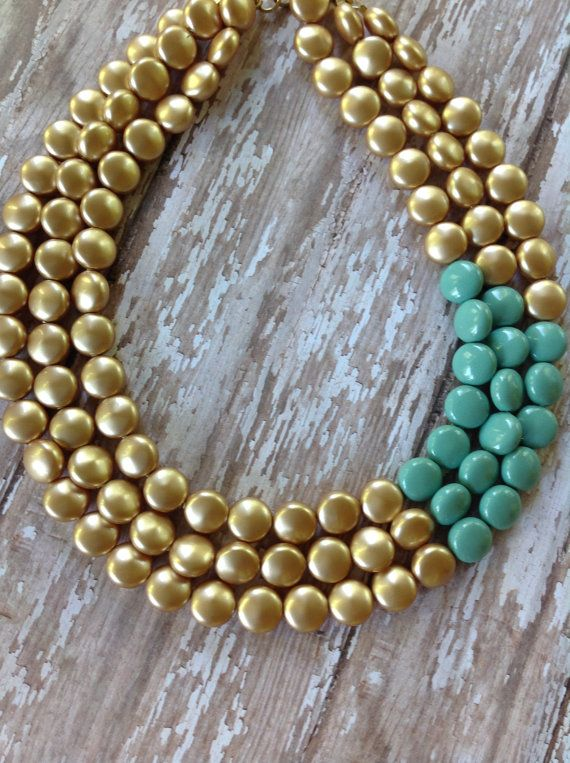 Gold Statement Necklace, Gold and Aqua Splash Statement, Statement Necklace, Swarovski Pearls