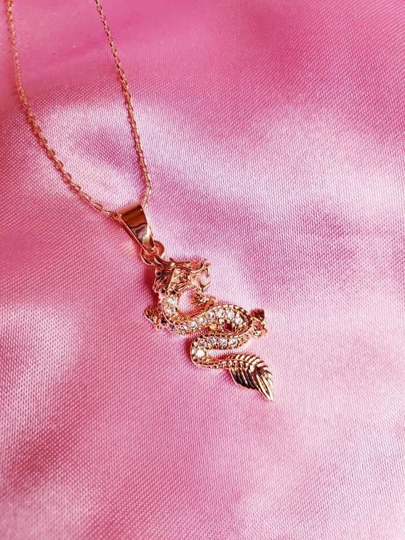 Photo of Gold Dragon Charm Necklace // Dragon pendant necklace, Lucky Dragon,  Charm Necklace,  Dragon Charm,