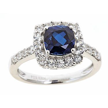 Sterlings Silver Cushion Created Blue Sapphire Birthstone Ring