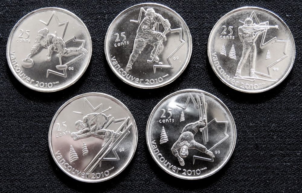 Canada 25 Cent 2007 2008 Unc 2010 Olympic Ms Collector Coin Lot Coins Canadian Coins Ebay