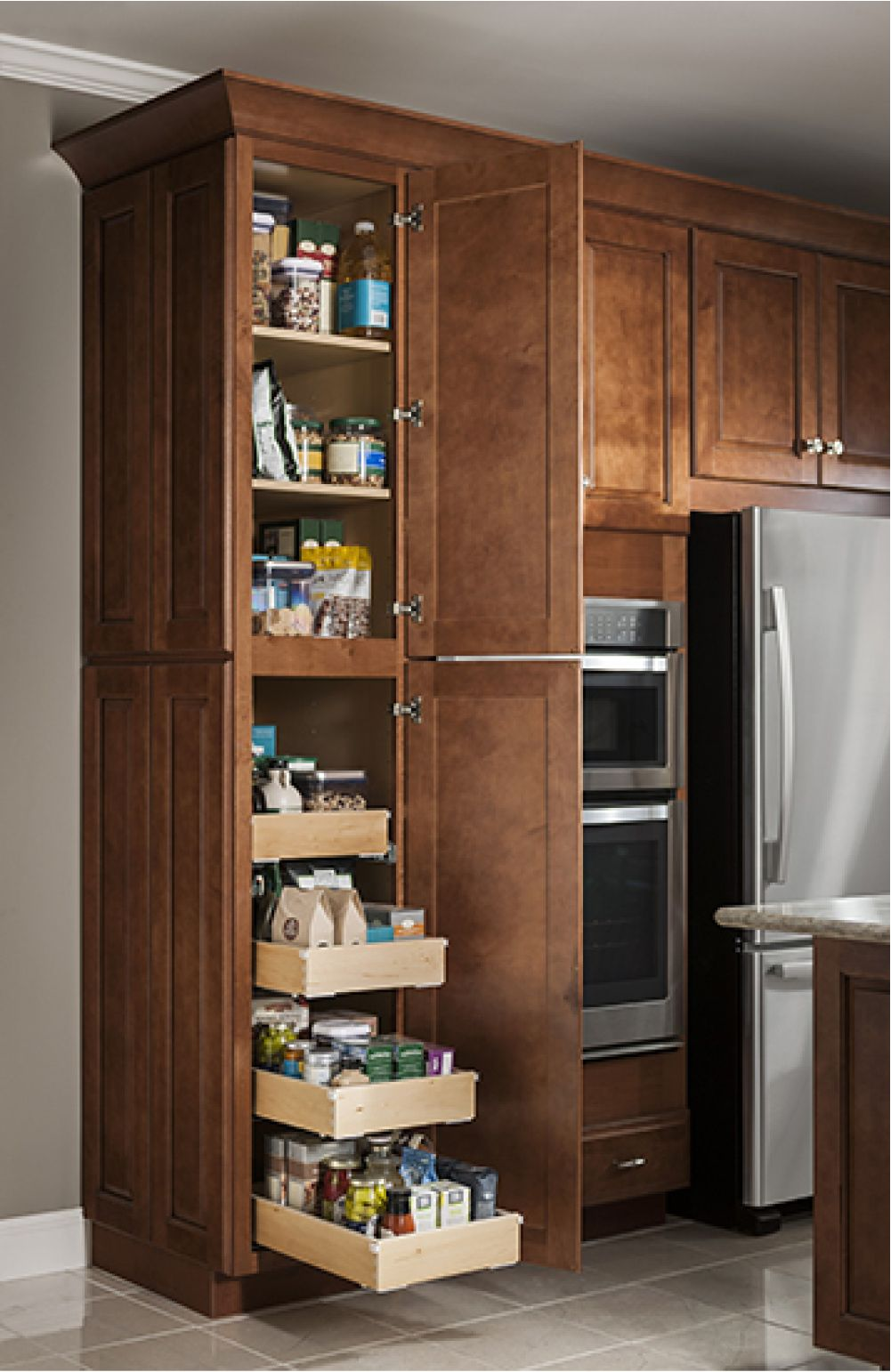 Utility Cabinet With Roll Out Trays Design By Allen Roth Kitchen Cabinets Tall Kitchen Cabinets Kitchen Plans