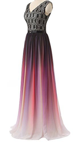 Eudolah New Gradient Colorful Sexy Ombre Chiffon Prom Dress Evening Dresses