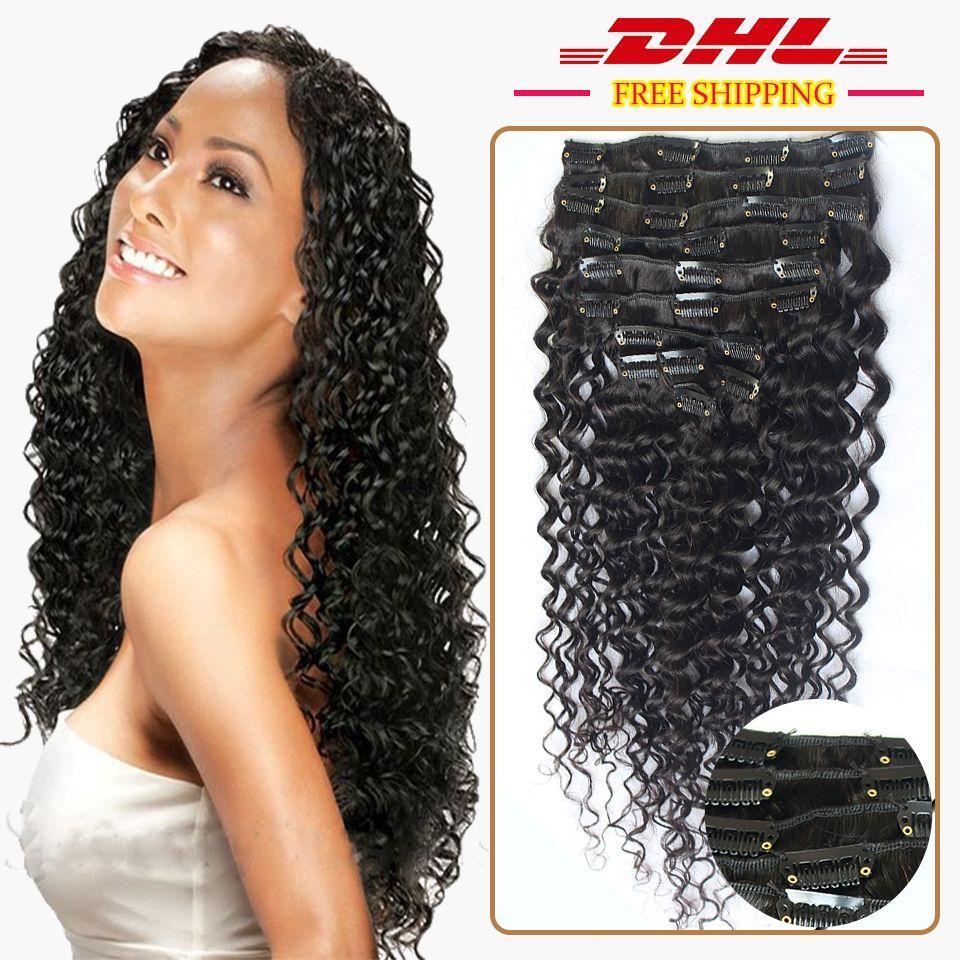 Brazilian Virgin Hair Clip In Human Hair Extension 2 Sets Full Head