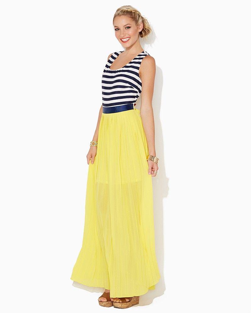 Charming charlie katy pleated maxi dress upc