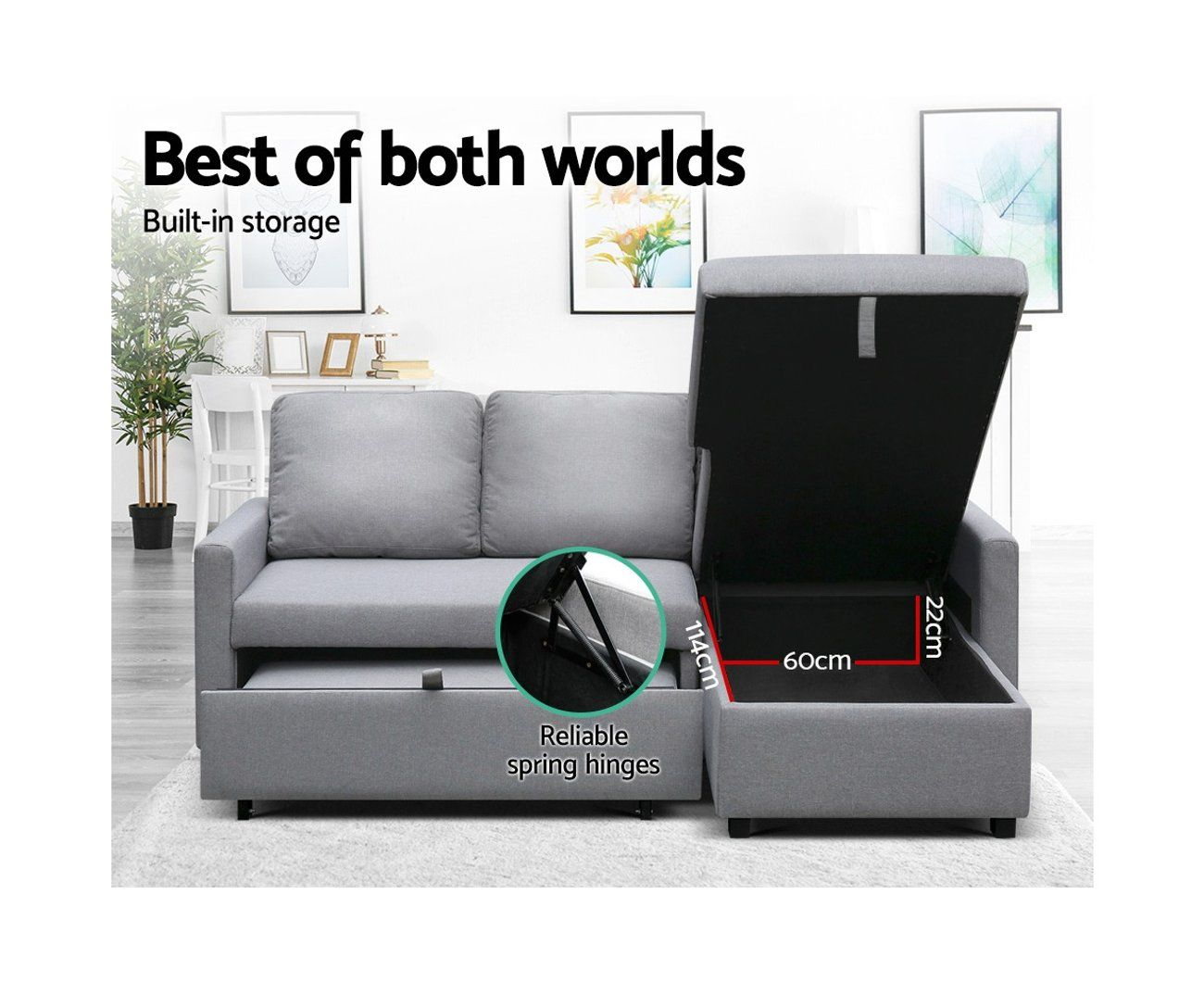 Artiss Sofa Bed Lounge Set 3 Seater Futon Couch Storage Chaise