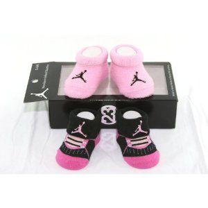 new style 2f5bf 63b6a Nike Air Jordan Newborn Baby Booties,Black & Pink, Size 0-6 ...