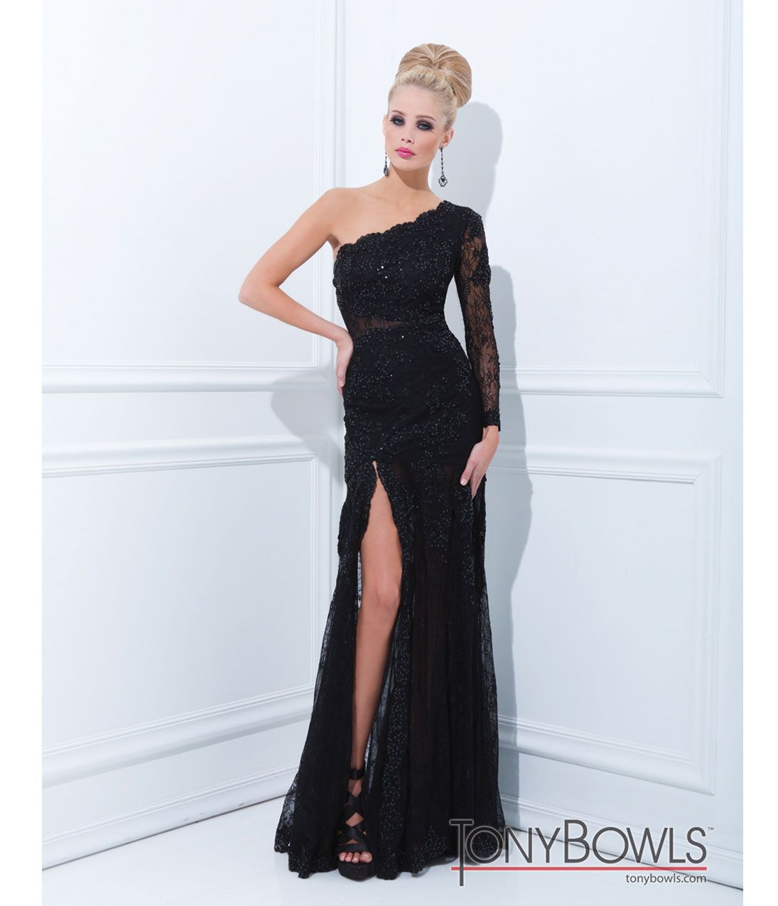 Tony bowls prom dresses black mesh u sequin one shoulder prom