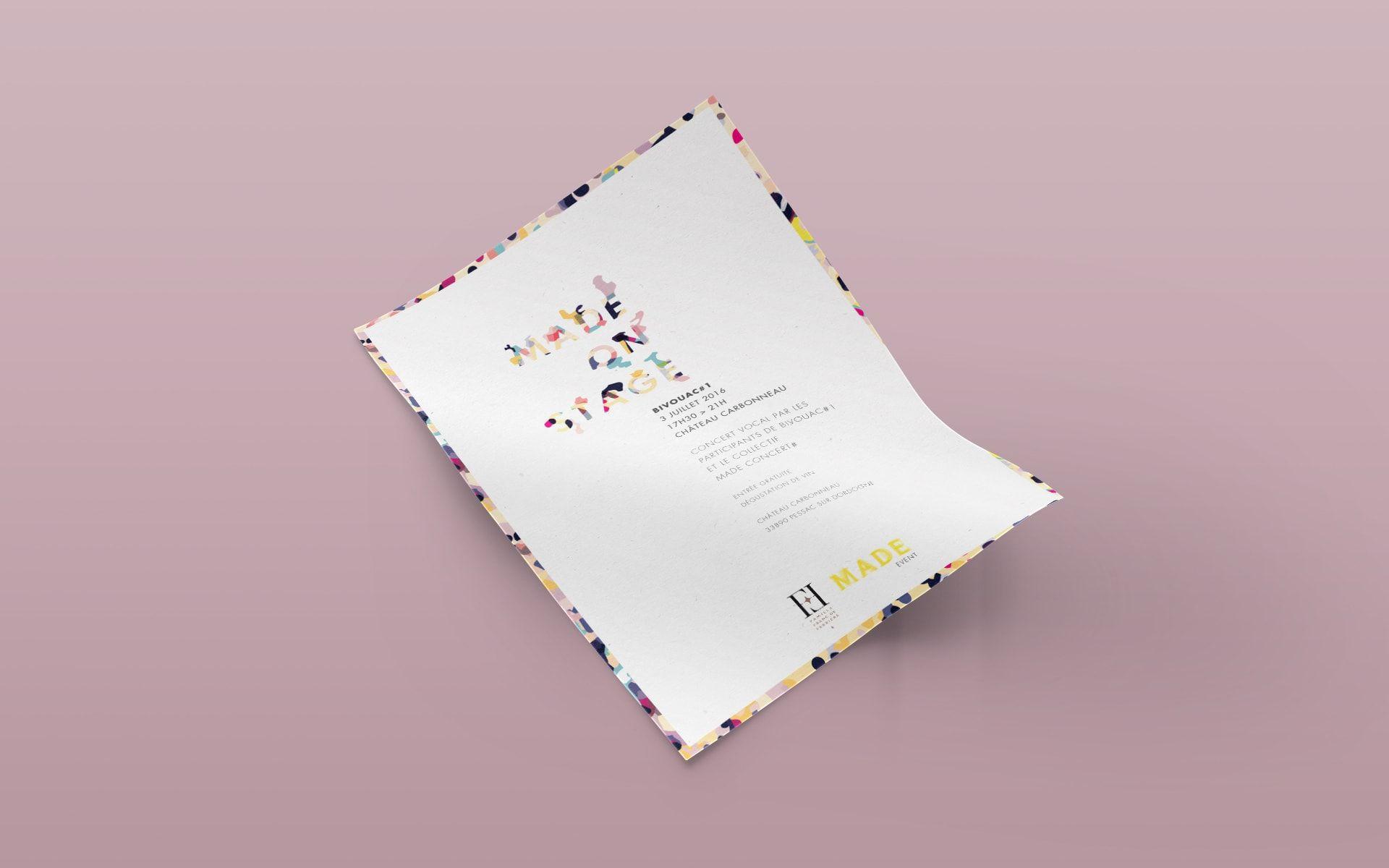 """Made School / Réalisation d'une affiche pour l'évènement Made, """"Made On Stage / Bivouac#1"""". Made est une école nomade de création et d'épanouissement artistique / www.nest-com.com"""