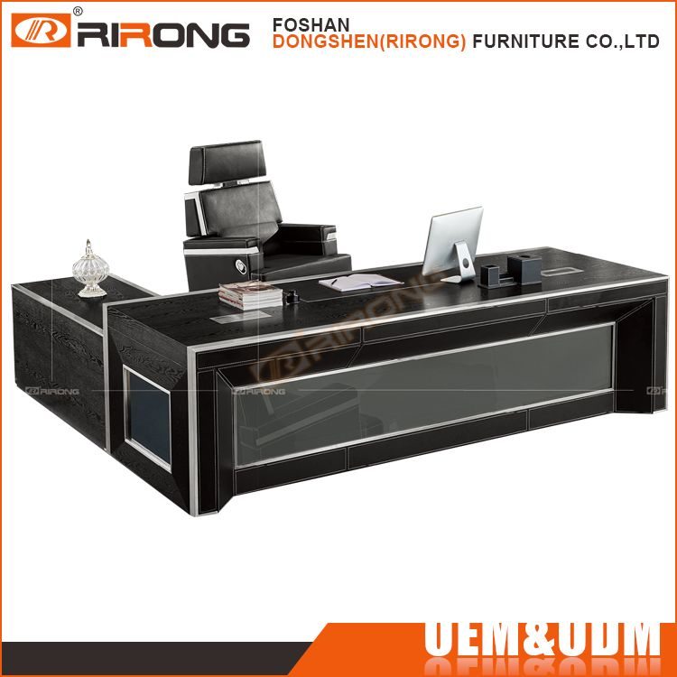 Customized Black Leather Covered Wooden Office Desk High End Luxury Big  Bossu2026