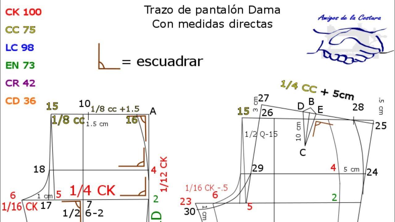 Patrón pantalón de dama con escuadra divisional - Amigos de la ...