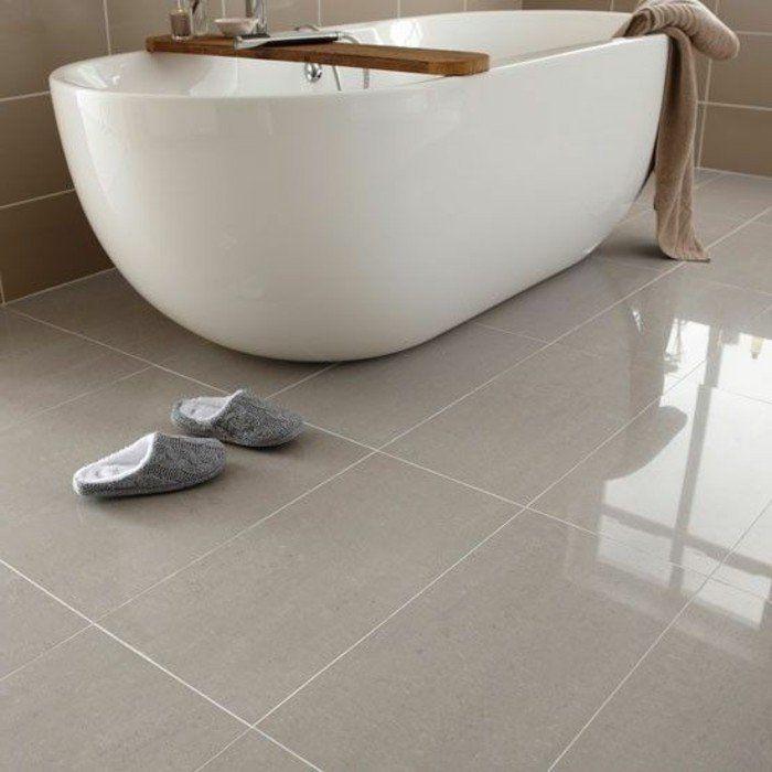 carrelage grand format beige dans la salle de bain - Carrelage Salle De Bain Grand Format