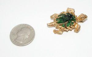 Vintage BOUCHER 9675P figural Turtle BROOCH pin green textured glass stone Geode
