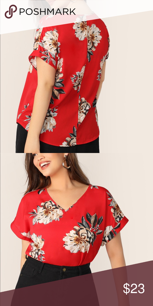 NWT red floral blouse V neck red floral blouse Tops Blouses