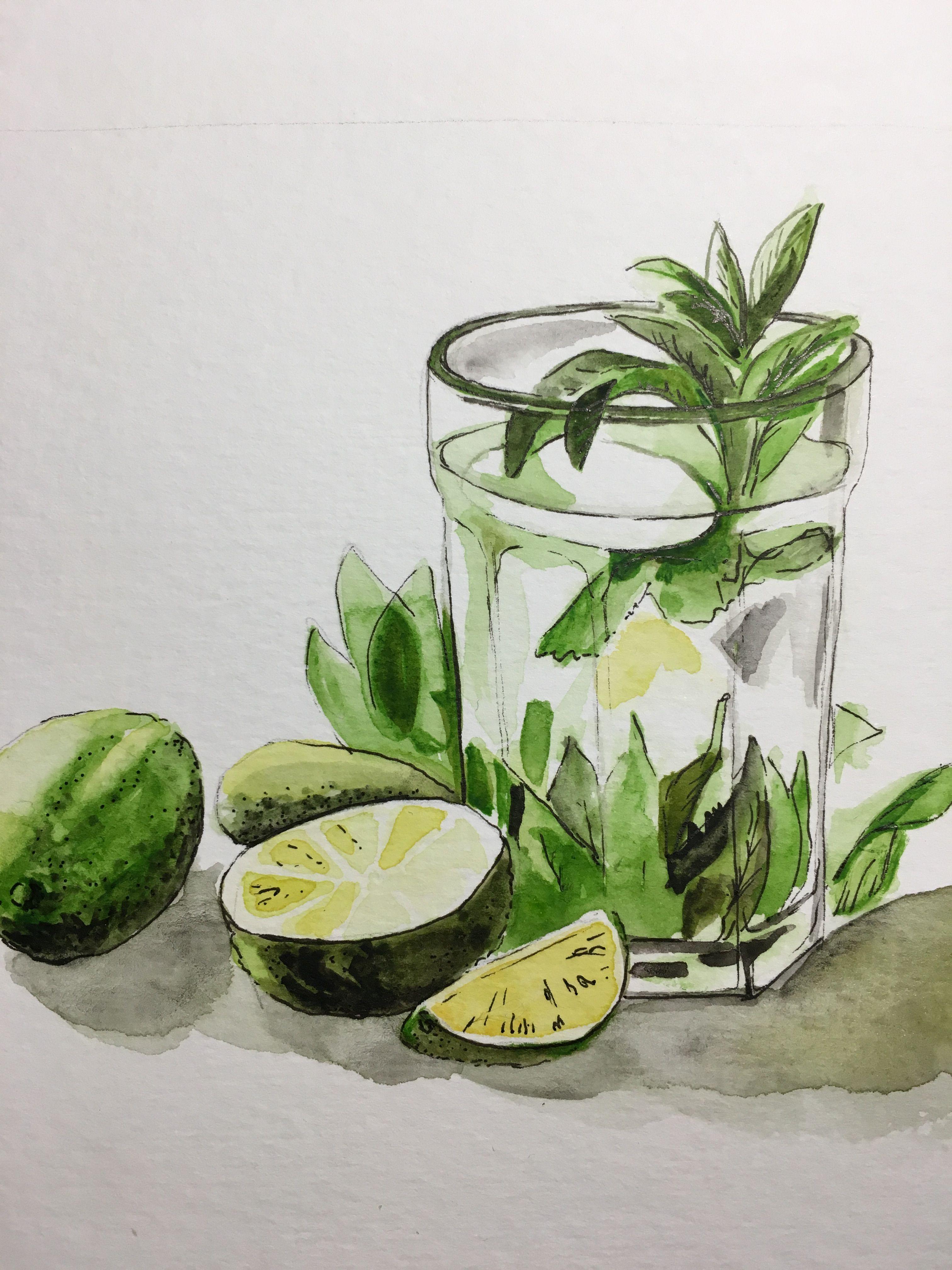 рисунок лимонада акварелью красавицы