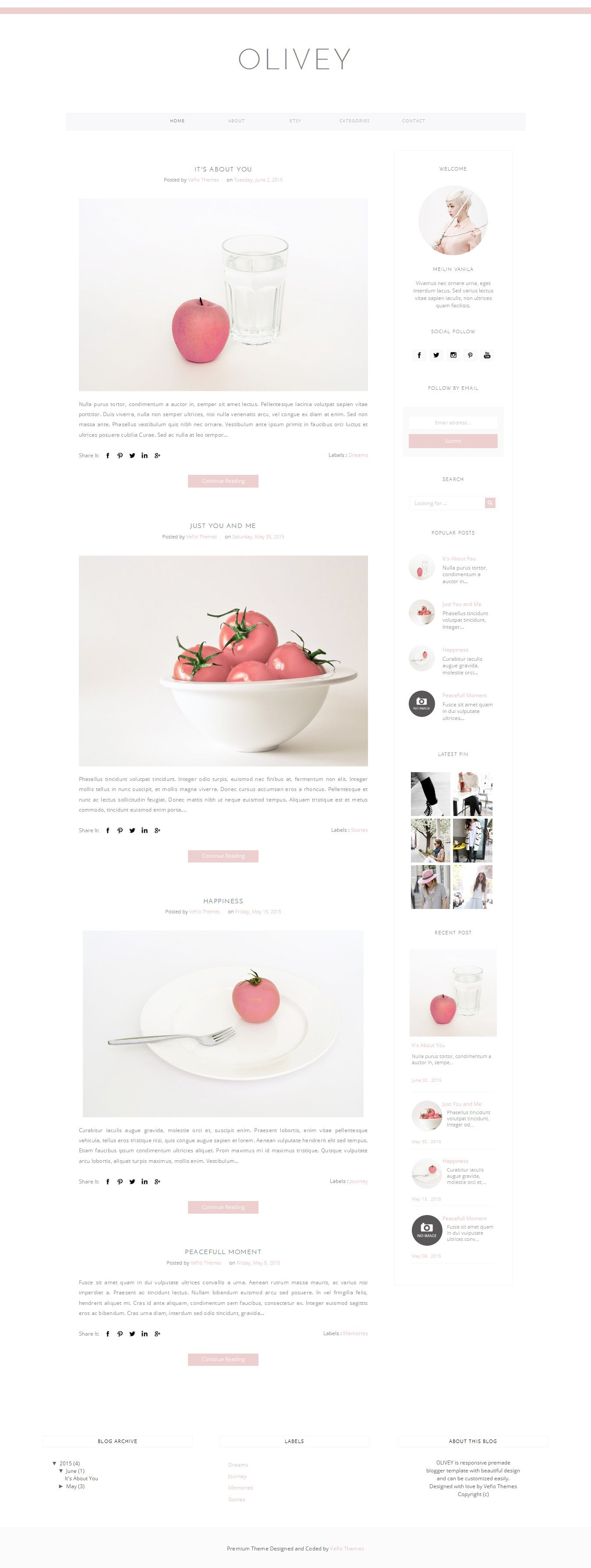 Blogger Template Responsive: OLIVEY - Responsive Blogger Template with many features, customizable, and responsive. It will look great on mobile device and easy to customize.