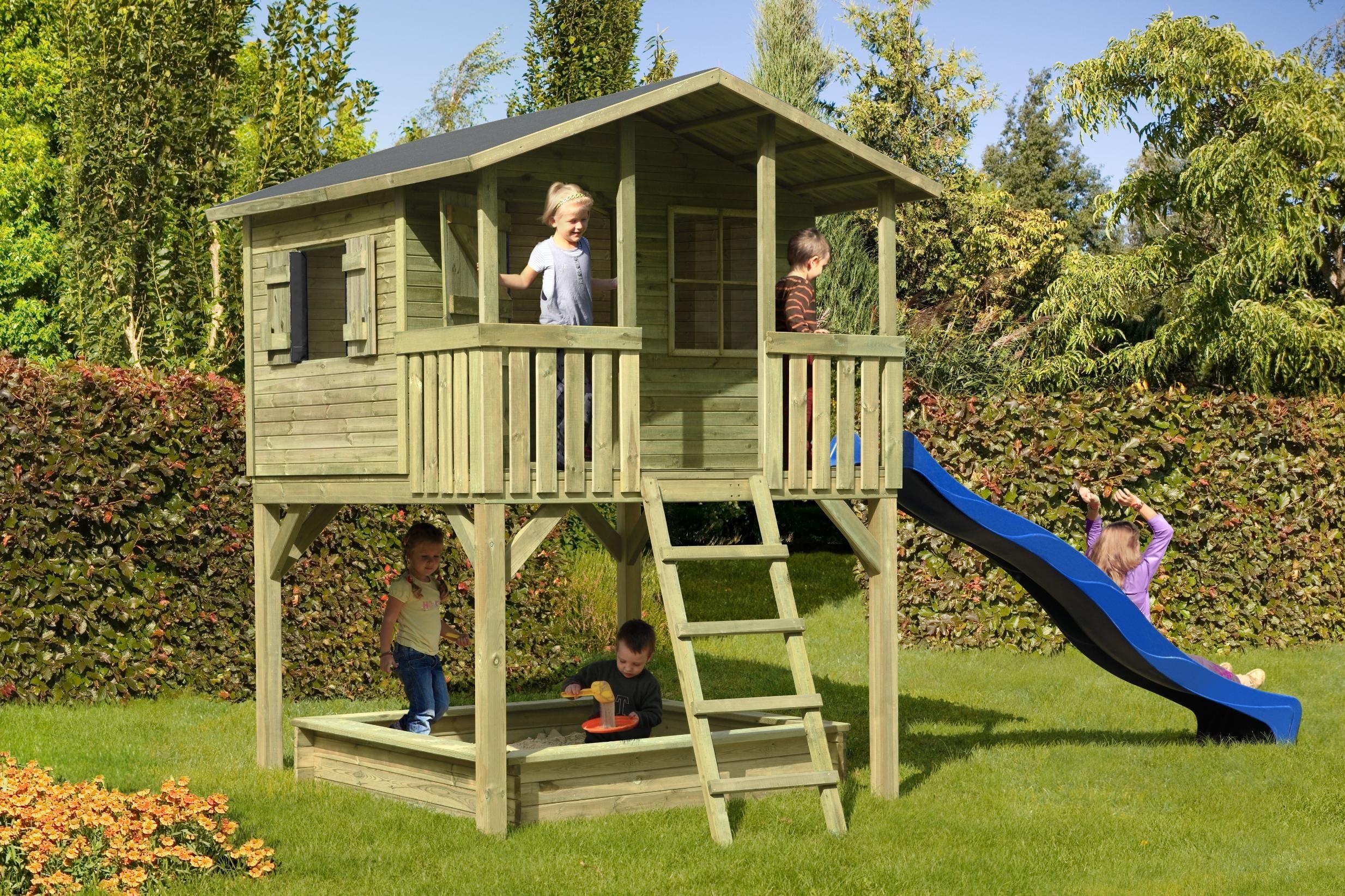 Scierie de la Hardt - maisonnette enfant sur pilotis | Cabane bois enfant, Construire cabane ...