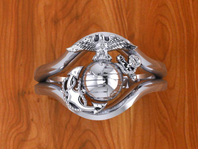 Beautiful Continuum Sterling Silver Usmc Ring Las Design 7