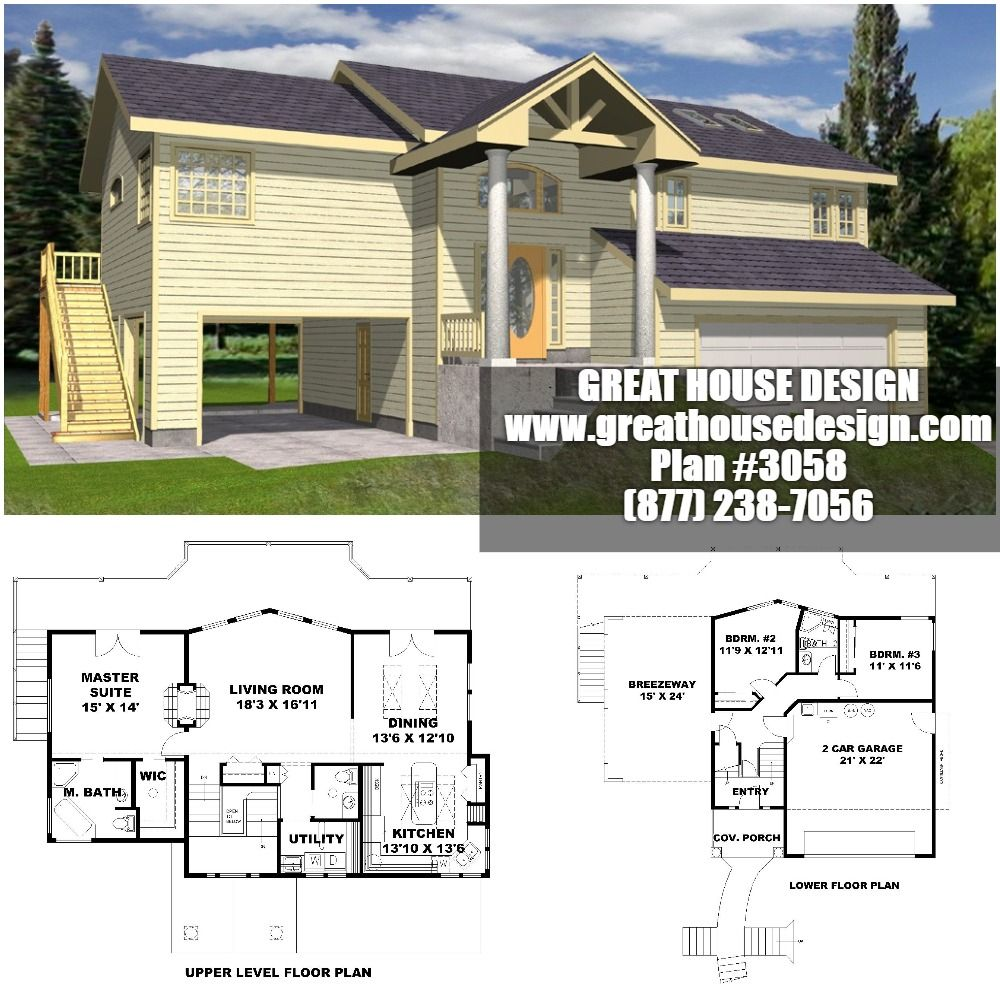 Home Plan 001 3058 Home Plan Great House Design In 2020 House Plans Breezeway House Design