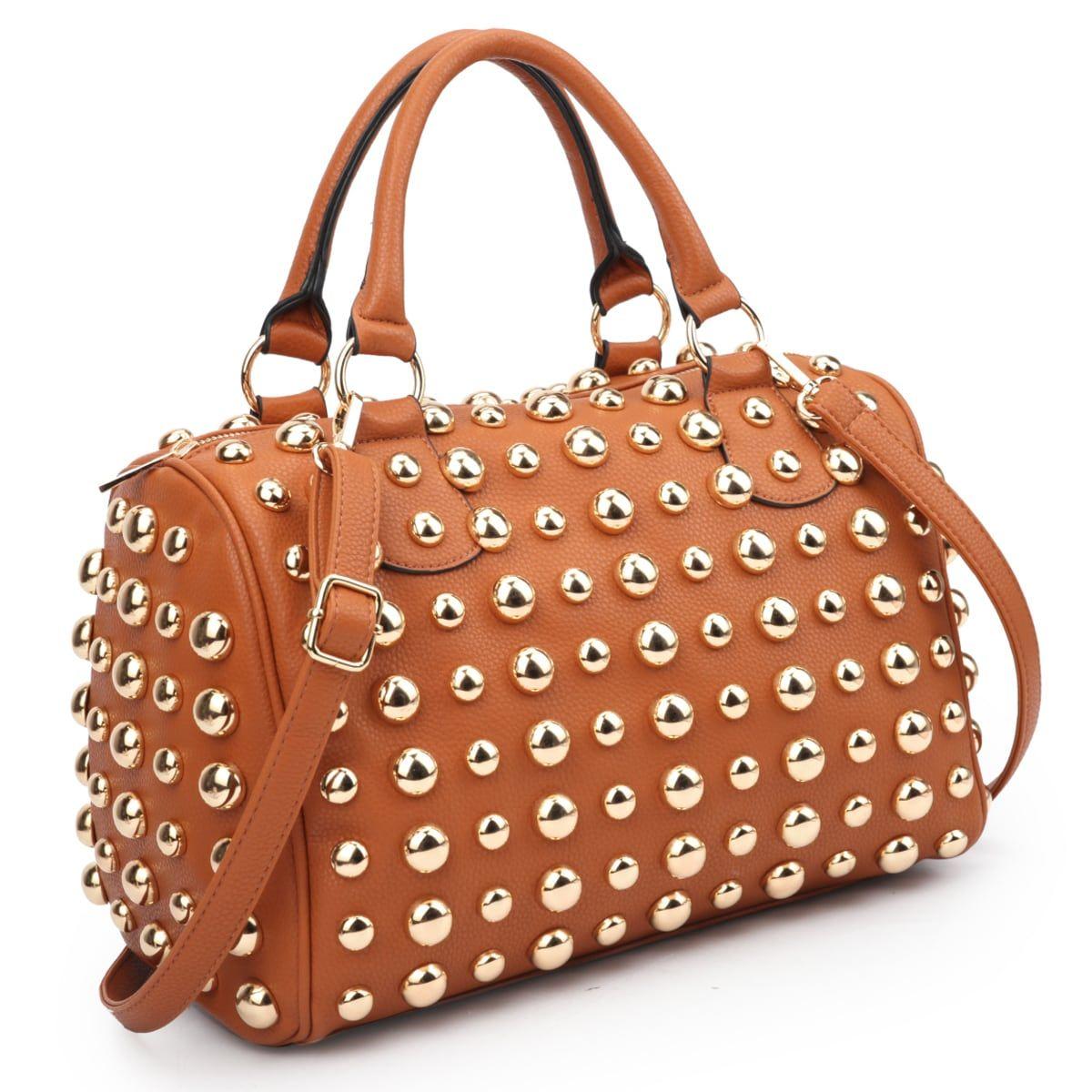 d5416fc4b2f6 Dasein Bling Studded Barrel Body Satchel Bag (Brown)