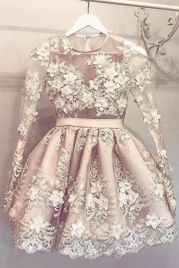 83514fba23 Cute  LongSleeve  Homecoming Dress Hand-Made Flower  Short  Prom  Dress  Party  Dress