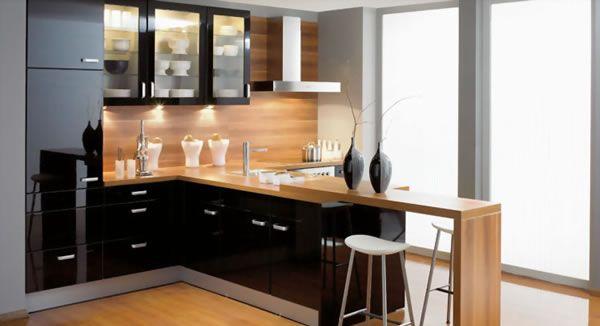 cocinas modernas combinación negro y madera - Buscar con Google