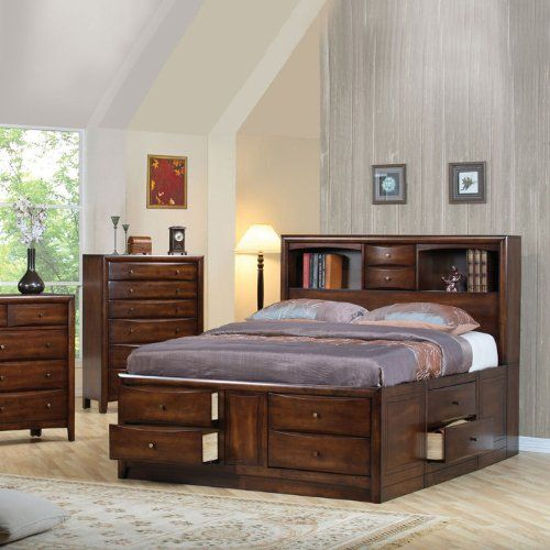 Hillary And Scottsdale Contemporary California King Bookcase Bed With  Underbed Storage Drawers Coaster Home Furnishings