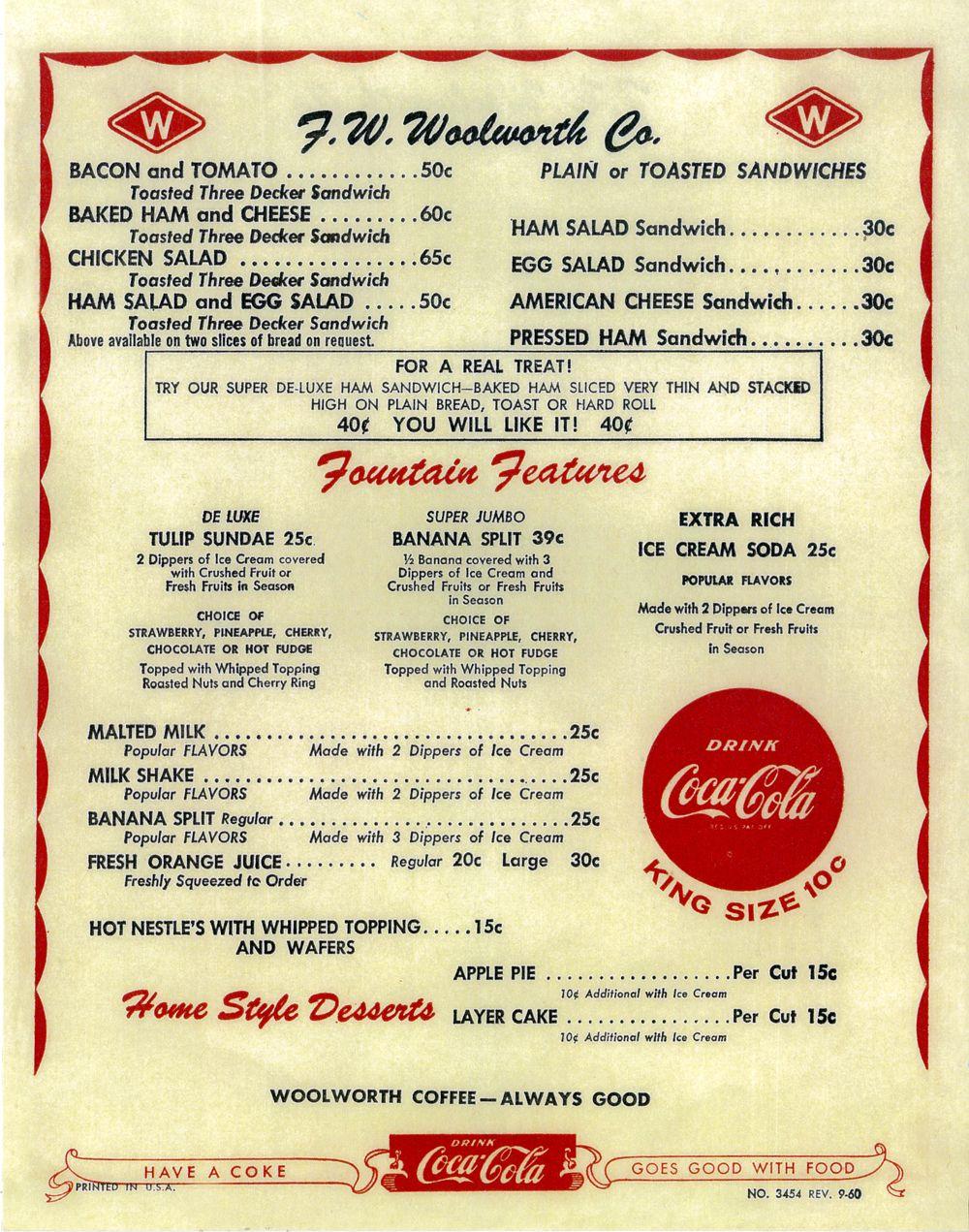 Woolworth's menu... Vintage menu, Memories