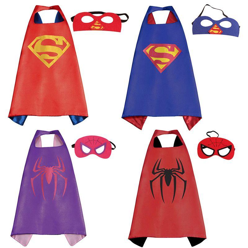 1 cap 1 masque cape de super h ros 70 cm 70 cm doubles c t s super hero cape avec masque pour. Black Bedroom Furniture Sets. Home Design Ideas