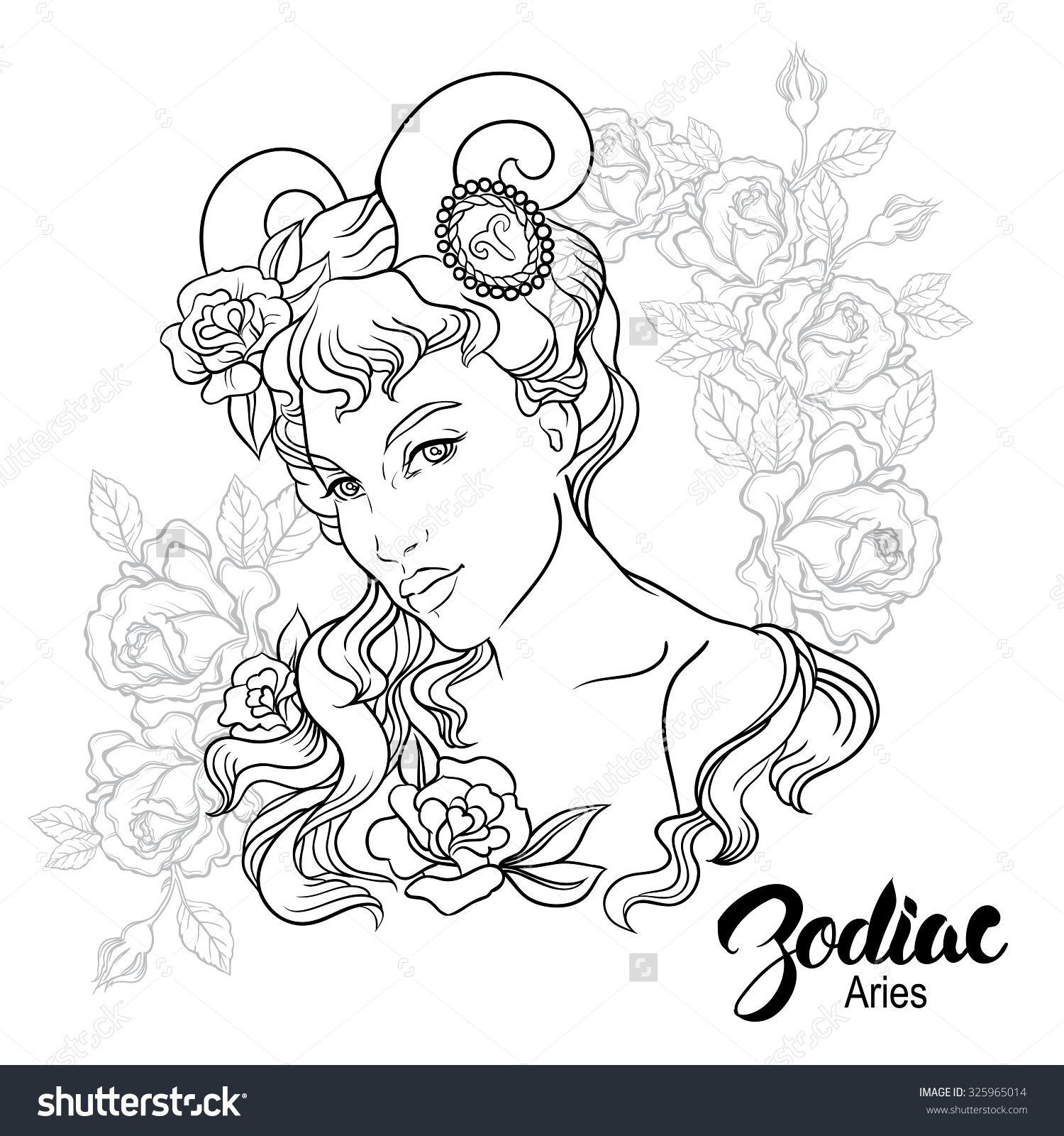 Zodiac Aries Girl Coloring Page Shutterstock 325965014