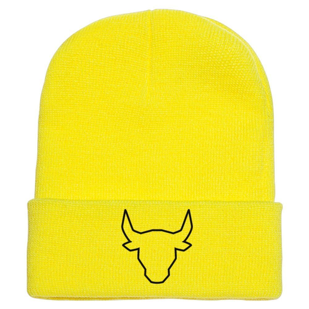 Polygonal Bull Embroidered Knit Cap