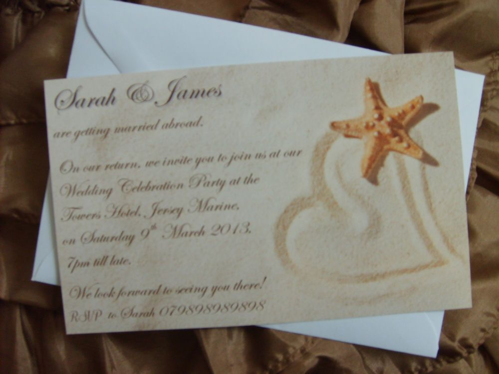 Personalised Wedding Invitation X 10 Married Abroad Beach