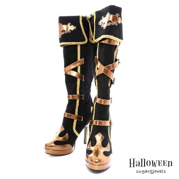 画像2 ハロウィン 小物 ブーツ パイレーツガール必須アイテム 黒に金の装飾がカッコイイ コスプレ用ヒールブーツ ヒールブーツ カワイイ服 サブカル ファッション