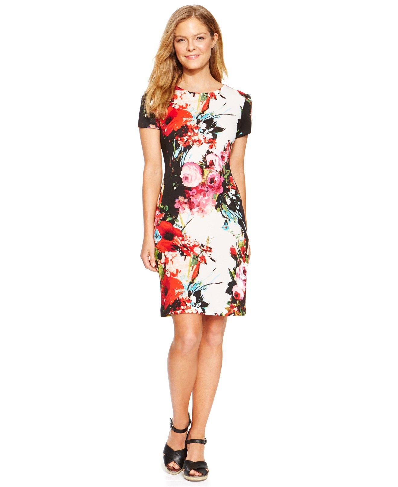 0dddae8b20 Sandra Darren Floral-Print Scuba Sheath Dress - Dresses - Women - Macy s