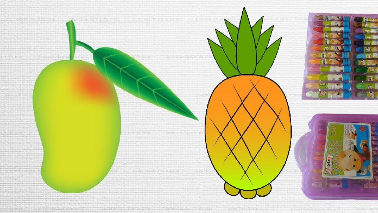 How to Draw and Color Fruits||Mango and Pineapple Coloring||Fruits ...