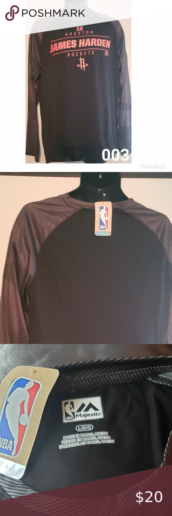 Piled Small NBA Mens Houston Rockets OTS Poly Dot Long Sleeve Tee