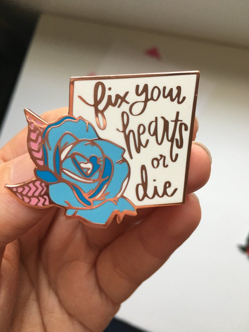 Fix Your Hearts Or Die Blue Rose Charity Pin Mediaplex