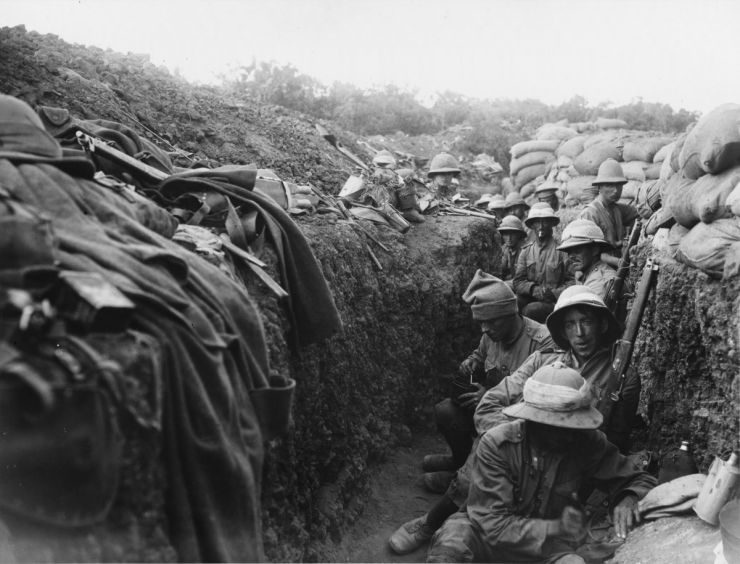Irish soldiers in the trenches at Gallipoli.