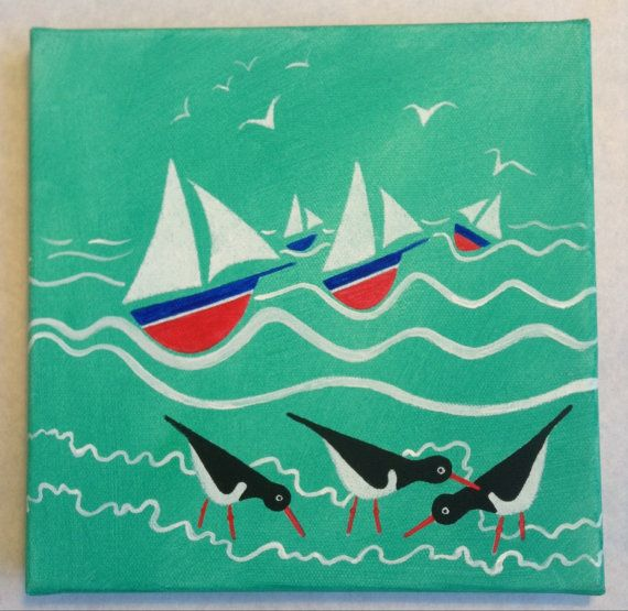 Sails and Oyster Catchers. Cornish seaside by SpindriftGallery